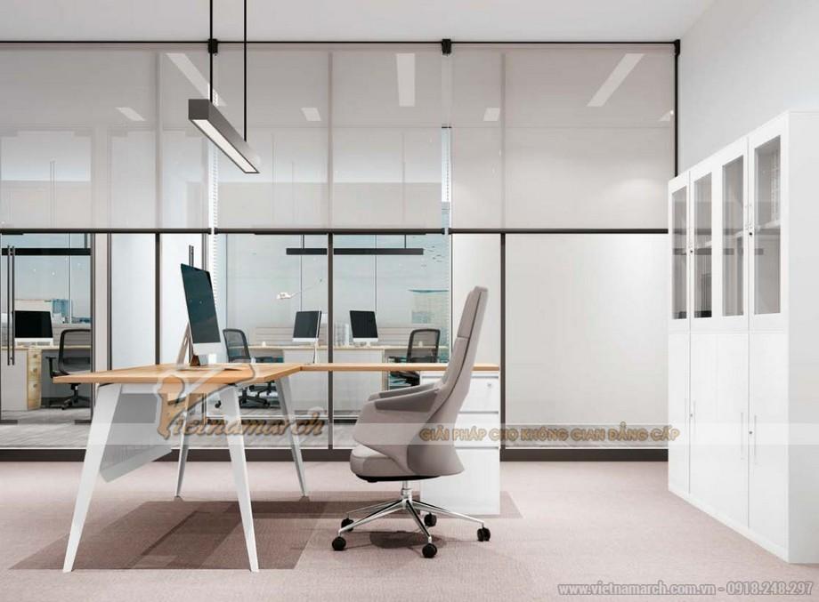 Mẫu bàn làm việc cho văn phòng giám đốc đa năng, hiện đại D20 sơn màu trắng