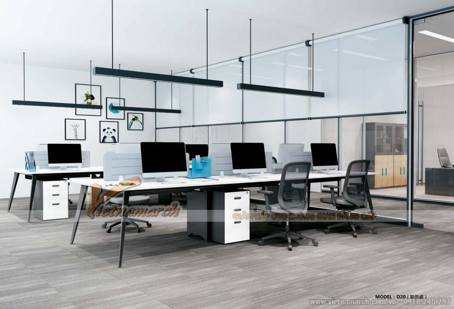Mẫu bàn làm việc cho văn phòng đa năng, hiện đại D20 lắp ghép thành mẫu bàn làm việc cho 6 người