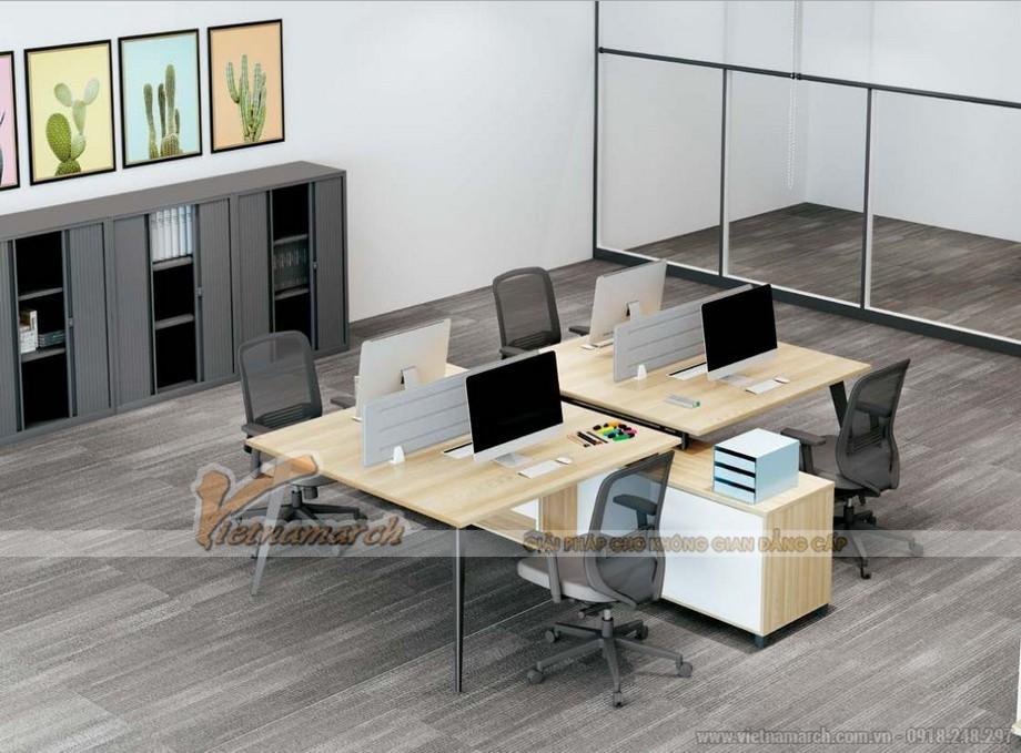 Mẫu bàn làm việc cho văn phòng đa năng, hiện đại D20 lắp ghép thành mẫu bàn làm việc cho 4 người có dãy tủ ở giữa