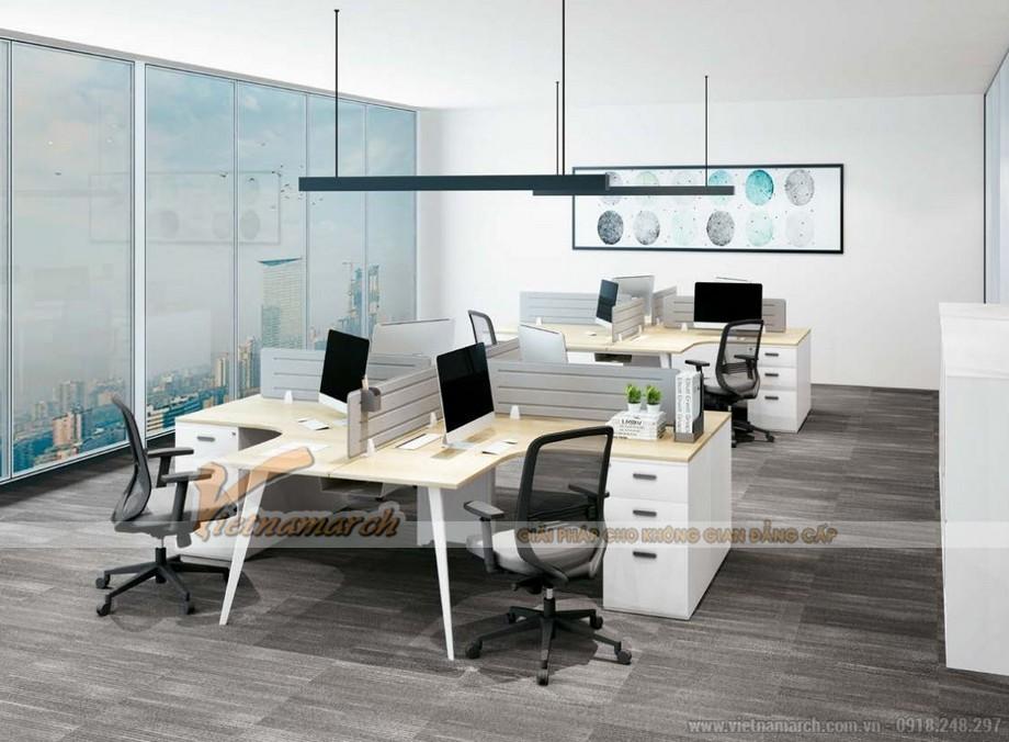 Mẫu bàn làm việc cho văn phòng đa năng, hiện đại D20 thiết kế hình chữ L tạo thành bàn làm việc cho cụm 4 người