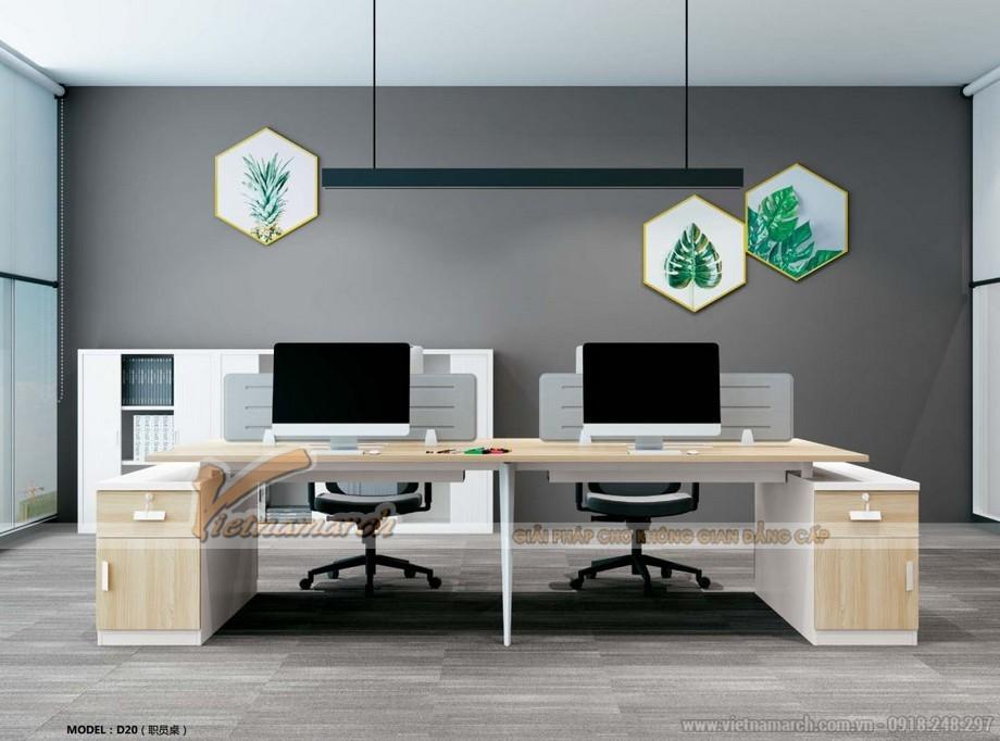 Mẫu bàn làm việc cho văn phòng đa năng, hiện đại D20 lắp ghép thành bộ bàn cho 4 người với 2 tủ phía ngoài