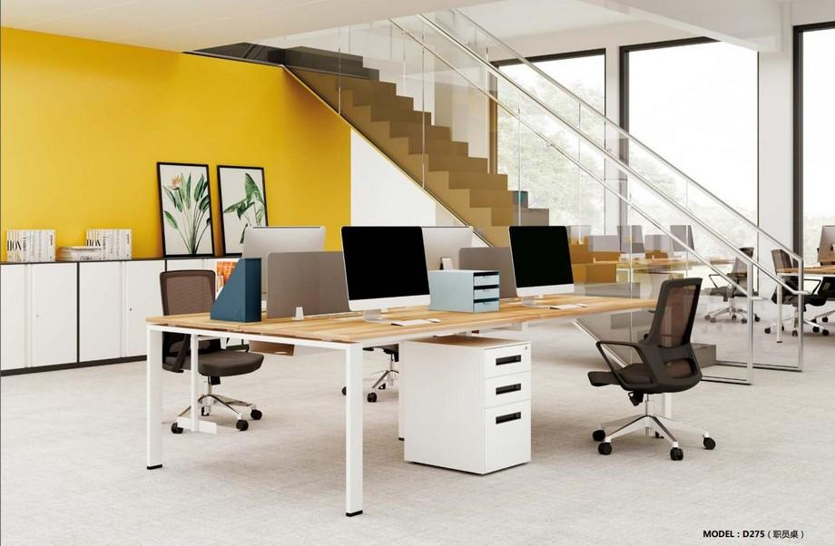 Mẫu bàn làm việc D275 hiện đại cho văn phòng, không gian làm việc chung kiểu dáng thằng kết hợp với tủ