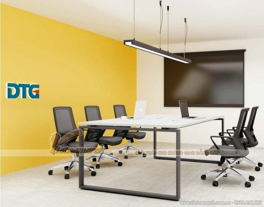 Mẫu bàn làm việc D275 hiện đại cho văn phòng, không gian làm việc chung được ứng dụng trong không gian phòng họp nhỏ