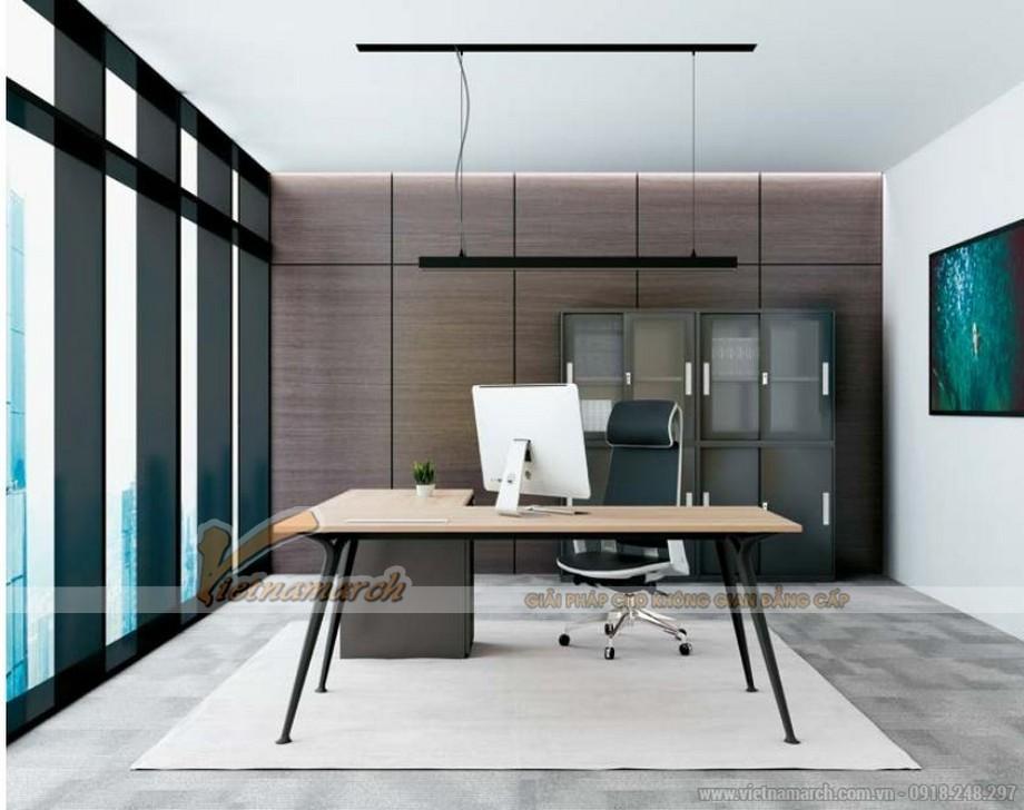 Mẫu bàn làm việc D50 lắp ghép, hiện đại cho không gian văn phòng làm việc giám đốc