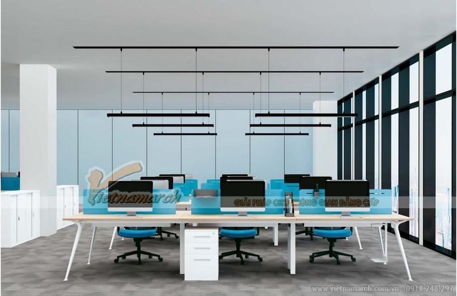 Mẫu bàn làm việc D50 lắp ghép, hiện đại cho không gian văn phòng với 6 chỗ ngồi kết hợp tủ để đồ và vách ngăn