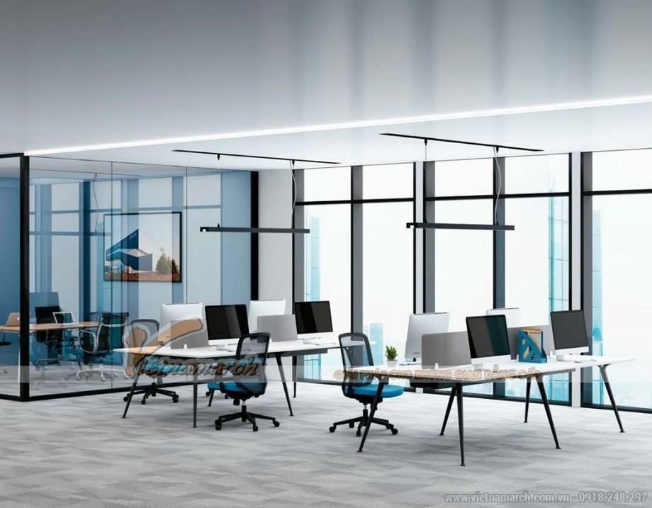 Mẫu bàn làm việc D50 lắp ghép thành mẫu bàn dài cho 4 ngườihiện đại cho không gian văn phòng