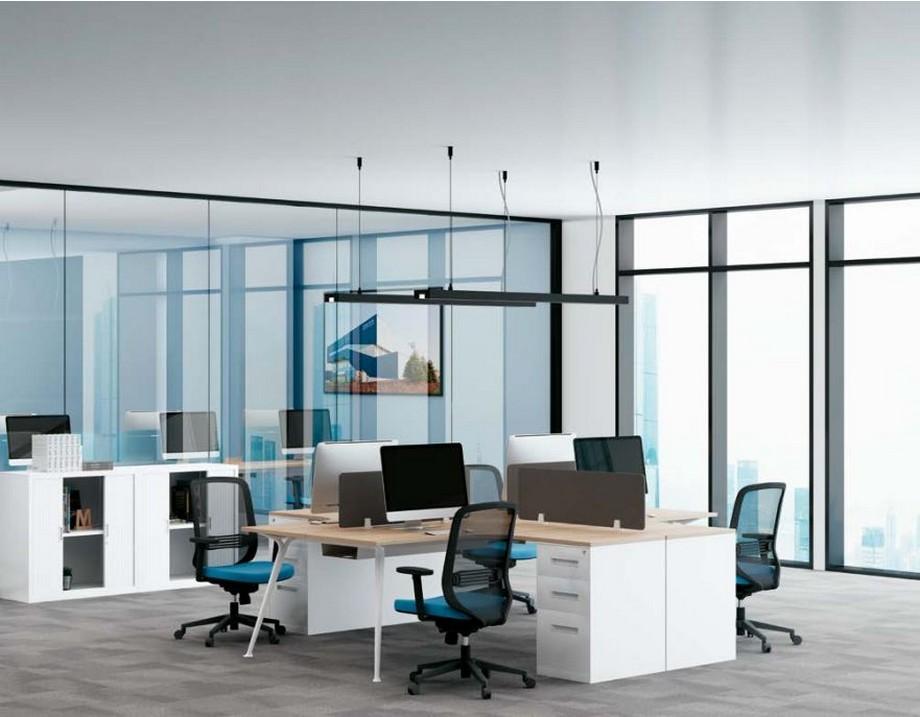 Mẫu bàn làm việc D50 lắp ghép, hiện đại cho không gian văn phòng với cụm 4 chỗ ngồi và có tủ chứa đồ