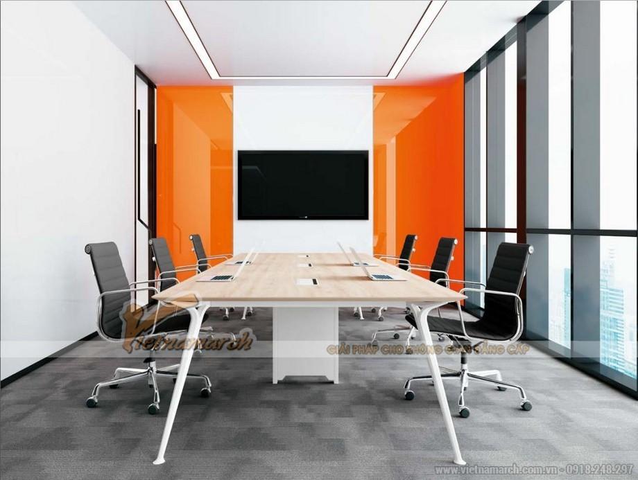 Mẫu bàn làm việc D50 lắp ghép, hiện đại cho không gian phòng họp lớn với chân bàn sơn trắng, mặt bàn bằng gỗ