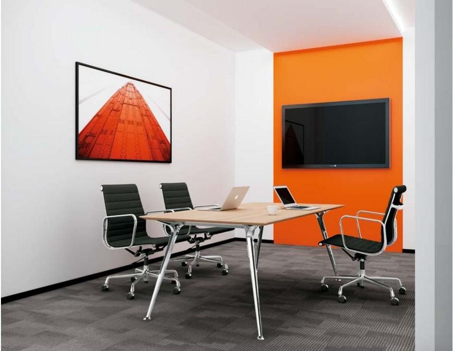 Mẫu bàn làm việc D50 lắp ghép, hiện đại cho không gian phòng họp nhỏ với chân bằng kim loại