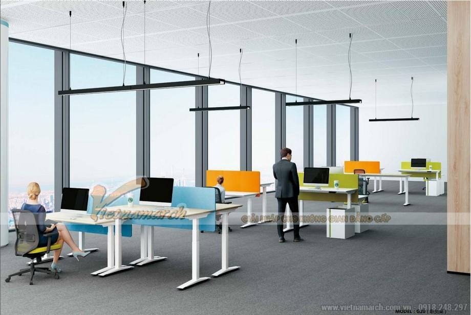 Mẫu bàn làm việc đa năng được bố trí với nhiều màu sắc vách ngăn cho nội thất văn phòng hiện đại, nổi bật