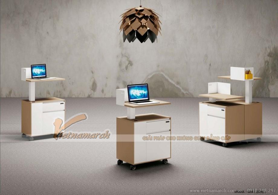 Mẫu bàn làm việc đa năng kết hợp với tủ ấn tượng cho nội thất văn phòng hiện đại