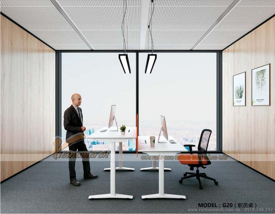 Mẫu bàn làm việc đôi đa năng ấn tượng cho nội thất văn phòng hiện đại