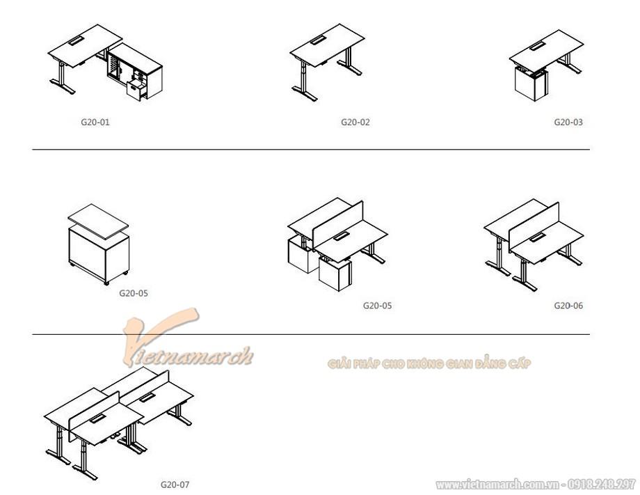 Mẫu bàn làm việc đa năng ấn tượng cho nội thất văn phòng hiện đại tạo nên nhiều kiểu dáng bàn khác nhau