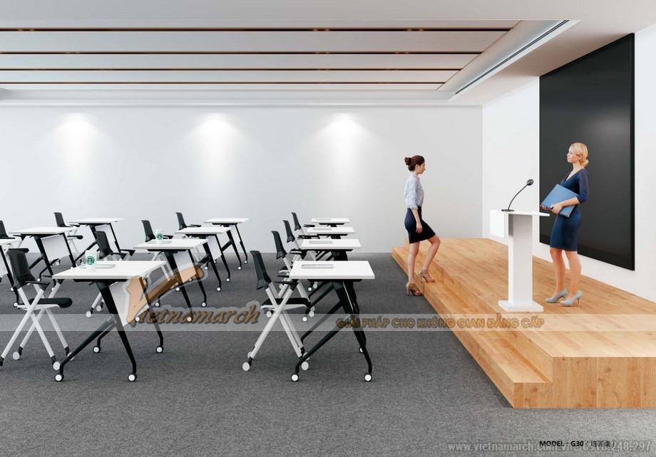 Mẫu bàn làm việc kiểu dáng độc đáo G30 kết hợp ghế tạo nên bàn học cho sinh viên trong lớp học/giảng đường