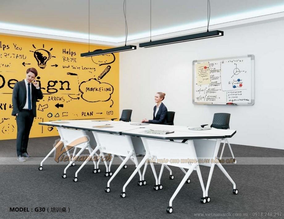 Mẫu bàn làm việc kiểu dáng độc đáo cho nội thất văn phòng G30 dùng làm bàn phòng họp
