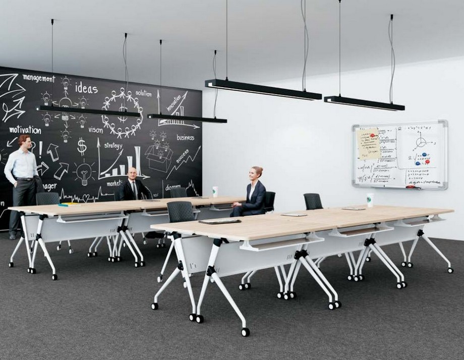 Mẫu bàn làm việc có ngăn kiểu dáng độc đáo cho nội thất văn phòng G30 tạo thành các dãy bàn làm việc cho nhân viên