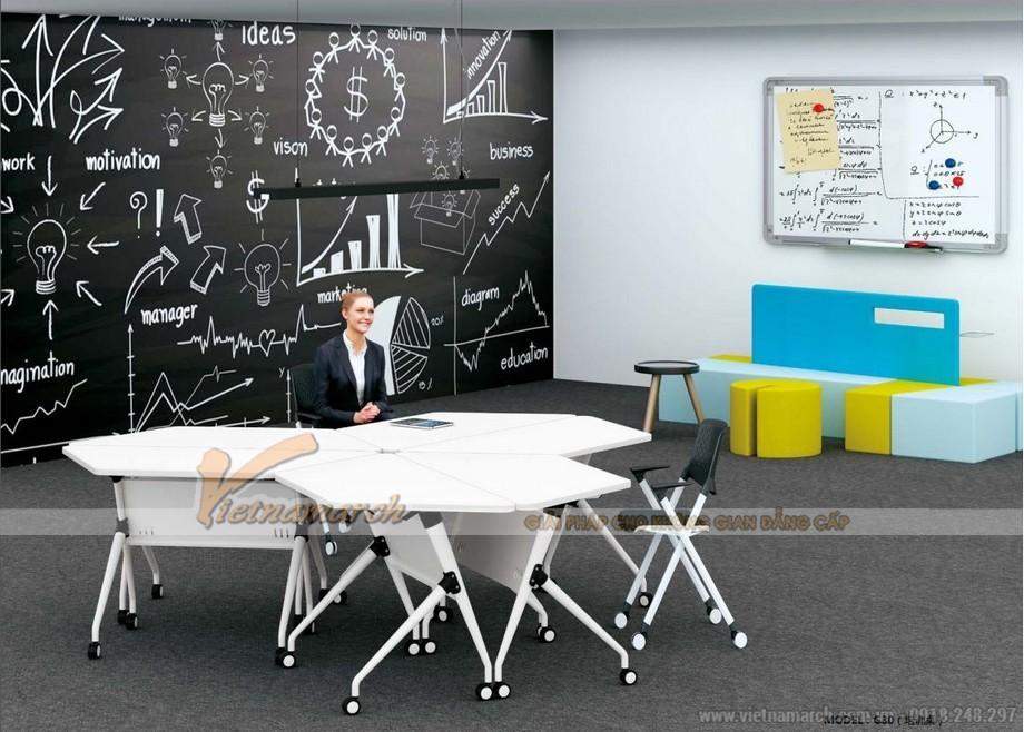 Mẫu bàn làm việc G30 có thể ghép thành các khối bàn hình lục giác kiểu dáng độc đáo cho nội thất văn phòng