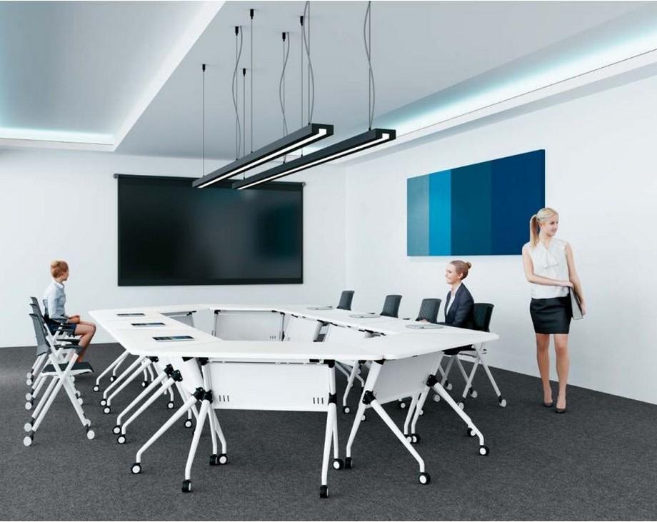 Mẫu bàn làm việc kiểu dáng độc đáo cho nội thất phòng họp văn phòng G30 với mặt bàn màu trắng