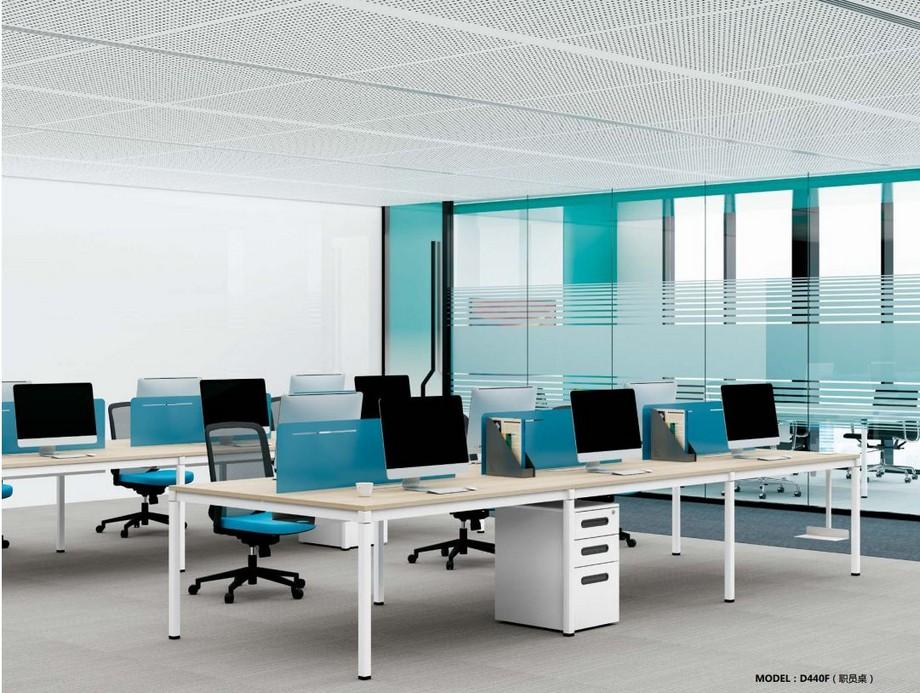 Mẫu bàn làm việc lắp ghép đa năng chắc chắn cho không gian văn phòng D440F với 6 chỗ ngổi
