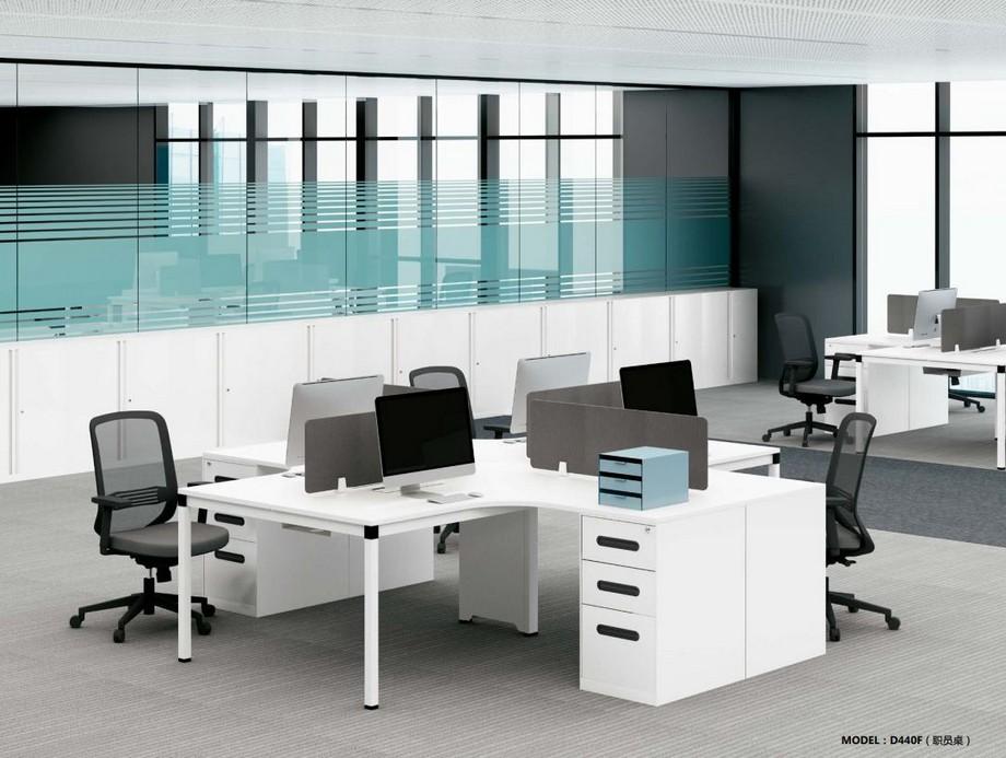 Mẫu bàn làm việc lắp ghép đa năng chắc chắn cho không gian văn phòng D440F kiểu liền tủ đẹp mắt