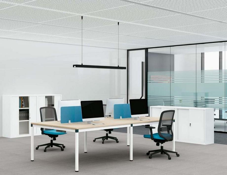 Mẫu bàn làm việc lắp ghép đa năng chắc chắn cho không gian văn phòng D440F với 4 chỗ ngồi