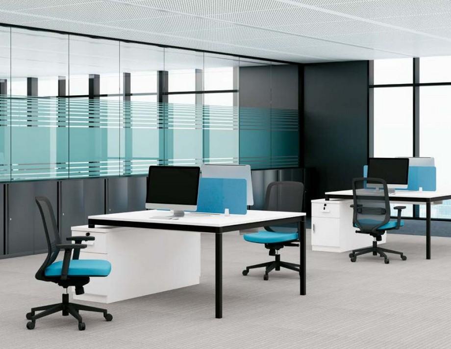 Mẫu bàn làm việc lắp ghép đa năng chắc chắn cho không gian văn phòng D440F kết hợp tủ 1 bên