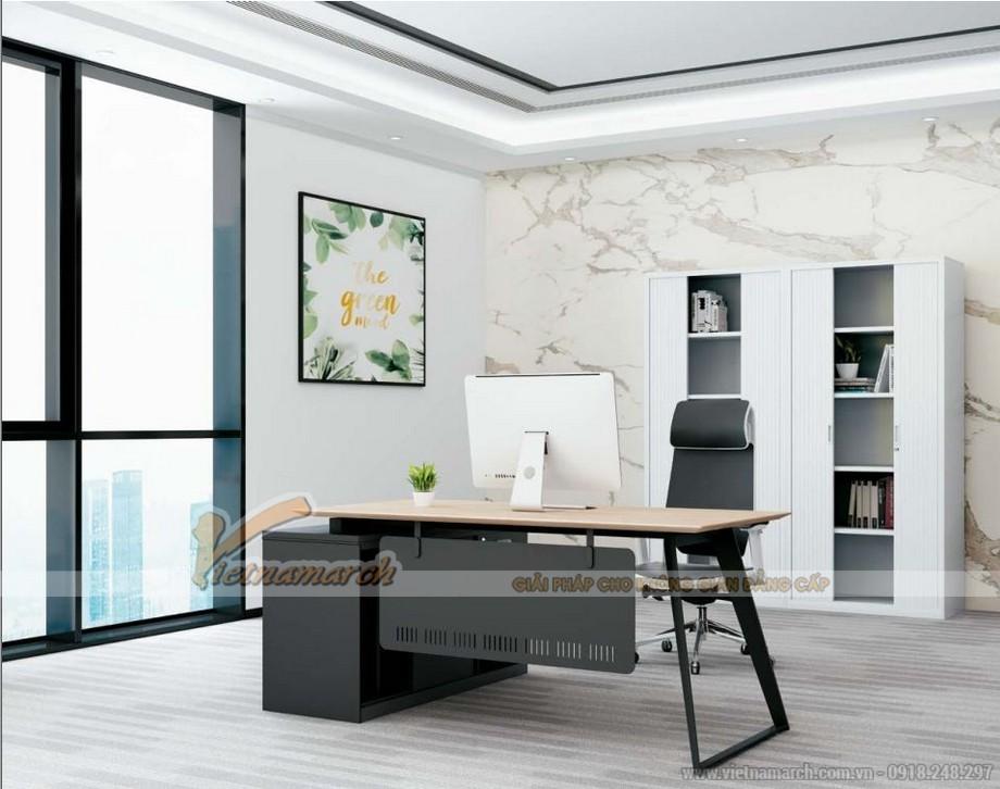 Mẫu bàn làm việc lắp ghép đa năng, hiện đại D10cho phòng giám đốc kết hợp thanh chắn và tủ để đồ sơn đen