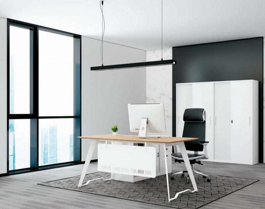 Mẫu bàn làm việc lắp ghép đa năng, hiện đại cho phòng giám đốc sơn trắng hiện đại