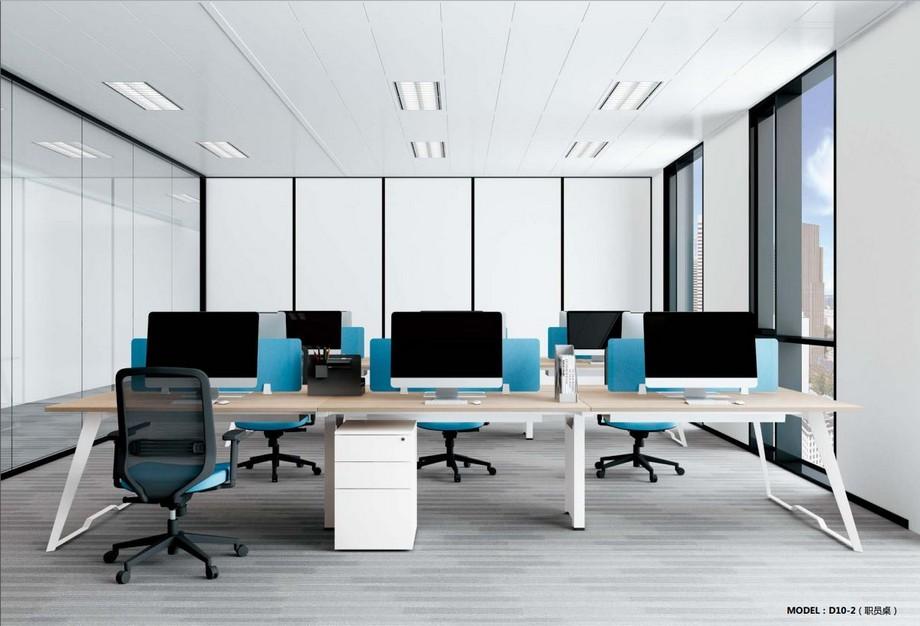 Mẫu bàn làm việc lắp ghép đa năng, hiện đại cho văn phòng D10 có các thanh ngăn kết hợp tủ