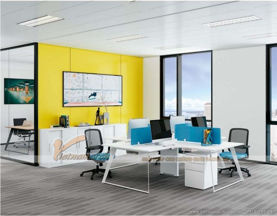 Mẫu bàn làm việc lắp ghép đa năng, hiện đại D10 có thiết kế vát góc cho văn phòng