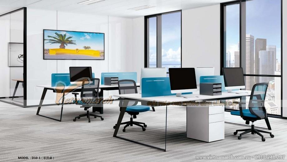 Mẫu bàn làm việc lắp ghép đa năng, hiện đại cho văn phòng D10 sơn chân bàn màu đen kết hợp thêm tủ