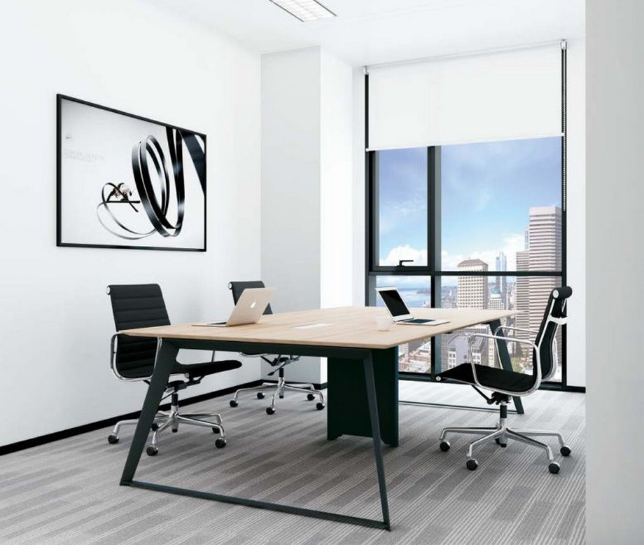 Mẫu bàn làm việc lắp ghép đa năng, hiện đại cho văn phòng nhỏ với chân bàn màu đen, mặt bàn bằng gỗ