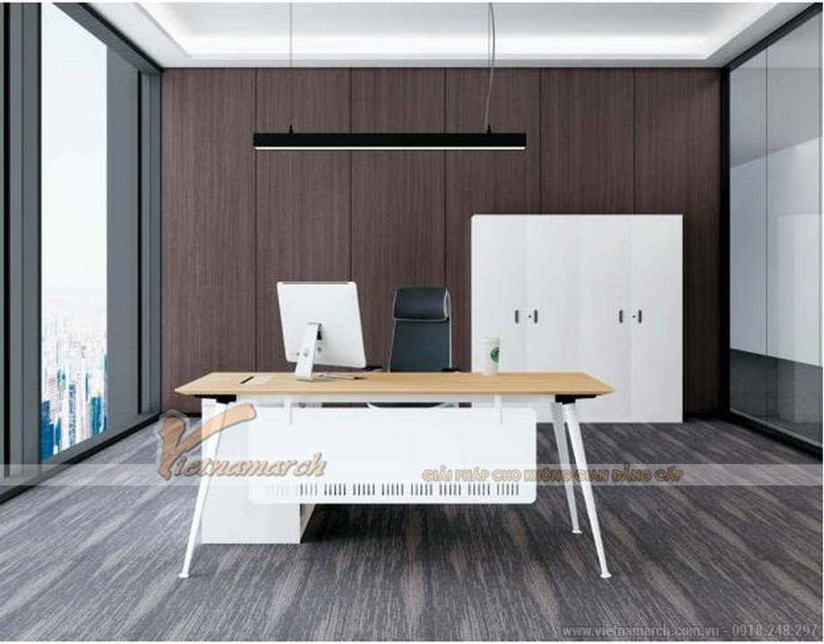 Mẫu bàn làm việc thông minh biến hóa đa dạng D40 cho văn phòng giám đốc sơn trắng có tấm chắn