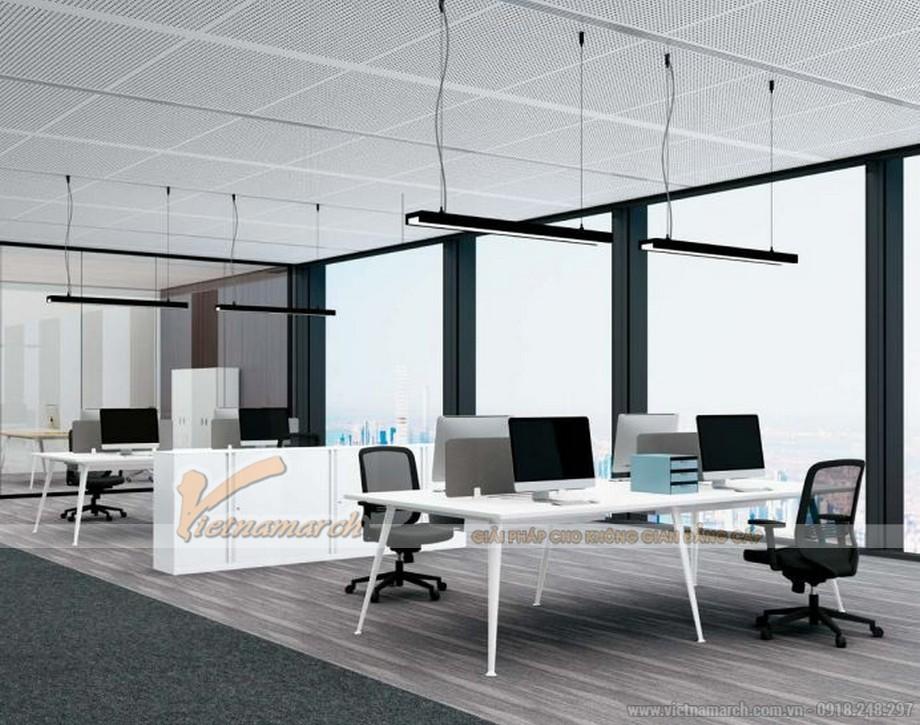 Mẫu bàn làm việc thông minh cho 4 người rộng rãi D40 cho văn phòng