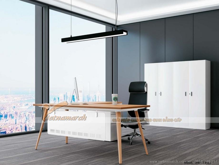 Mẫu bàn làm việc thông minh biến hóa đa dạng D40 cho phòng giám đốc với chân bàn sơn màu giả gỗ
