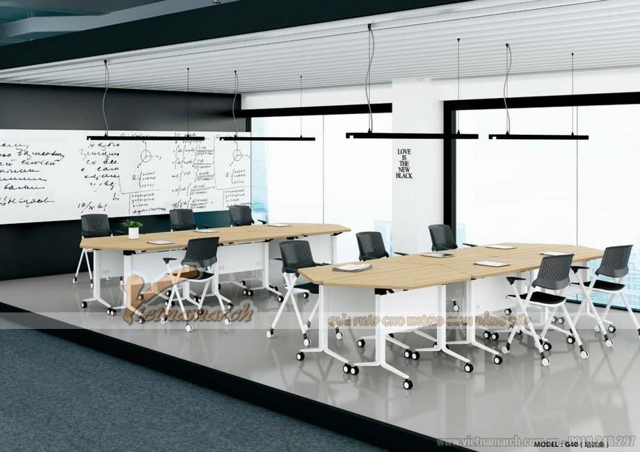 Mẫu bàn phòng họp, bàn làm việc lắp ghép kiểu dáng hiện đại sơn trắng, mặt bàn bằng gỗ