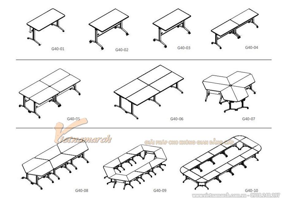 Mẫu bàn phòng họp, bàn làm việc lắp ghép kiểu dáng hiện đại có thể ứng dụng ở nhiều không gian khác nhau