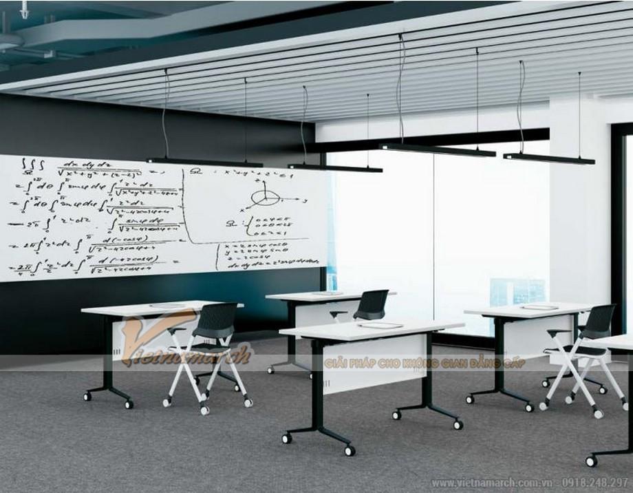Mẫu bàn phòng họp, bàn làm việc lắp ghép kiểu dáng hiện đại với chân bàn sơn đen, mặt bàn màu trắng