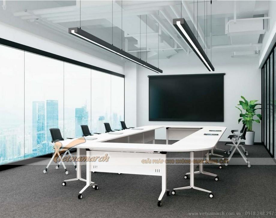 Mẫu bàn phòng họp lắp ghép kiểu dáng hiện đại hình chữ nhật vát tròn 4 góc
