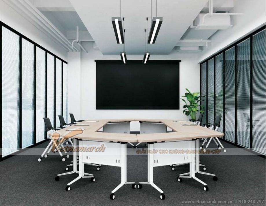 Mẫu bàn phòng họp lắp ghép kiểu dáng hiện đại