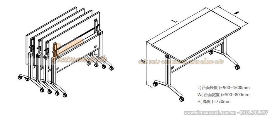 Mẫu bàn phòng họp, bàn làm việc lắp ghép kiểu dáng hiện đại có thể gấp gọn lại