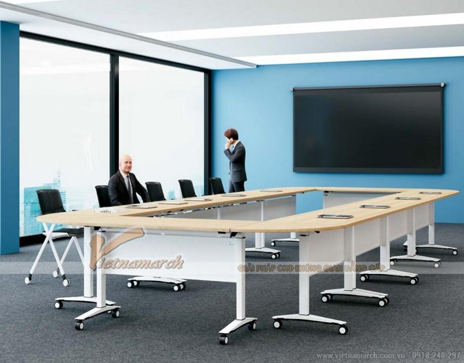 Mẫu bàn phòng họp văn phòng phong cách hiện đại, linh hoạt G10 với mặt bàn bằng gỗ