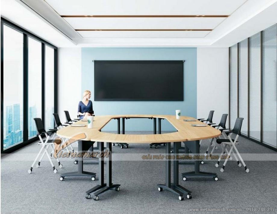 Mẫu bàn phòng họp văn phòng phong cách hiện đại, linh hoạt G10 được sắp xếp hình vòng cung