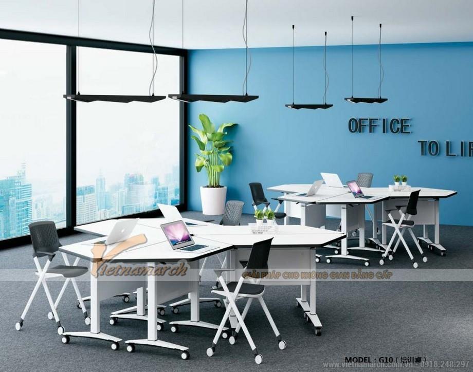 Mẫu bàn văn phòng phong cách hiện đại, linh hoạt G10 hình thang được ghép lại thú vị