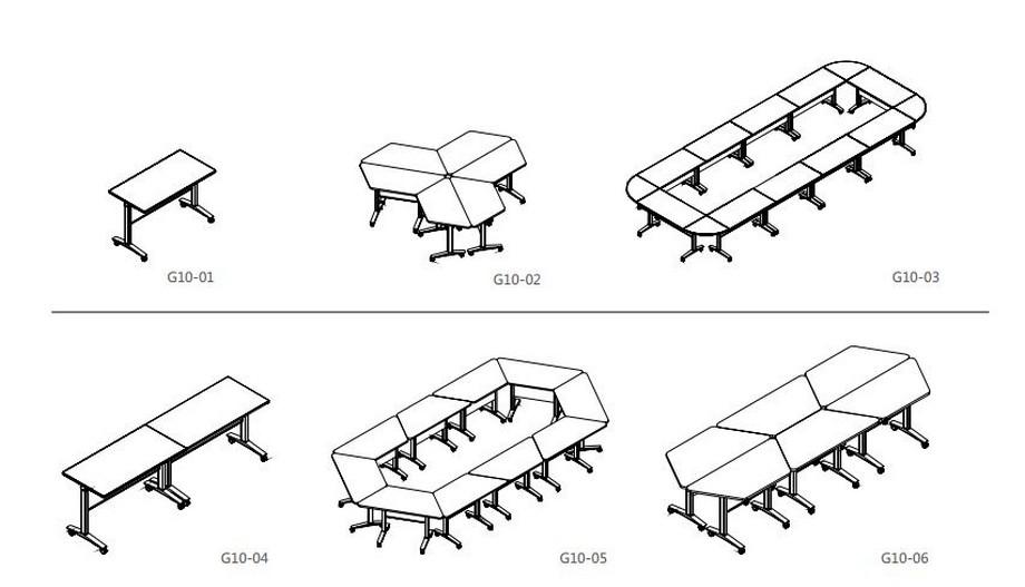 Mẫu bàn văn phòng phong cách hiện đại, linh hoạt G10 có nhiều hình dáng mặt và có thể kết hợp nhiều cách khác nhau