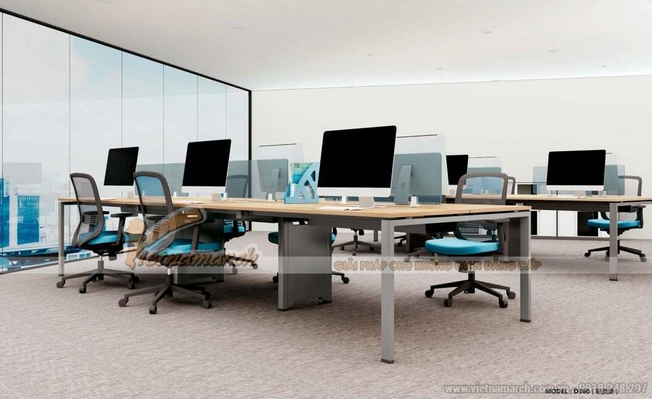 Mẫu thiết kế bàn làm việc D360 kiểu dáng hiện đại cho không gian văn phòng với các vách dưới chân