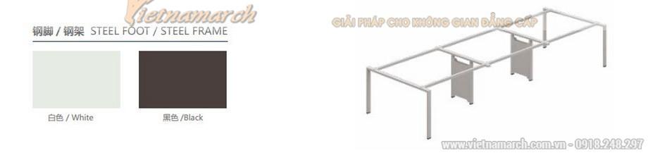 Mẫu thiết kế bàn làm việc D360 kiểu dáng dài hiện đại có thanh chắn dưới chân cho không gian văn phòng