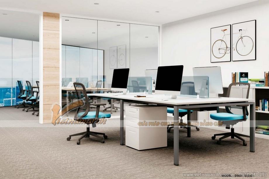 Mẫu thiết kế bàn làm việc D360 kiểu dáng hiện đại cho không gian văn phòng với 4 chỗ ngồi có thêm tủ