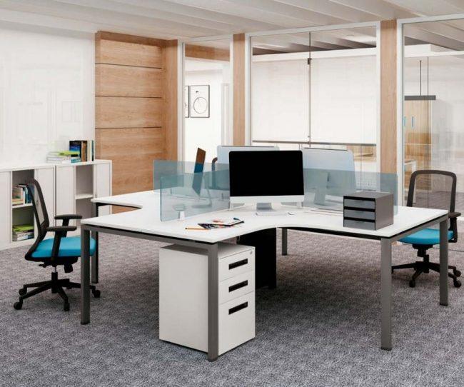 Mẫu thiết kế bàn làm việc D360 kiểu dáng hiện đại cho không gian văn phòng