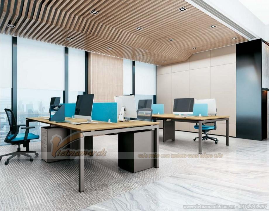 Mẫu thiết kế bàn làm việc D550 ấn tượng cho nội thất văn phòng hiện đại dành cho 4 người kết hợp thêm tủ chứa đồ